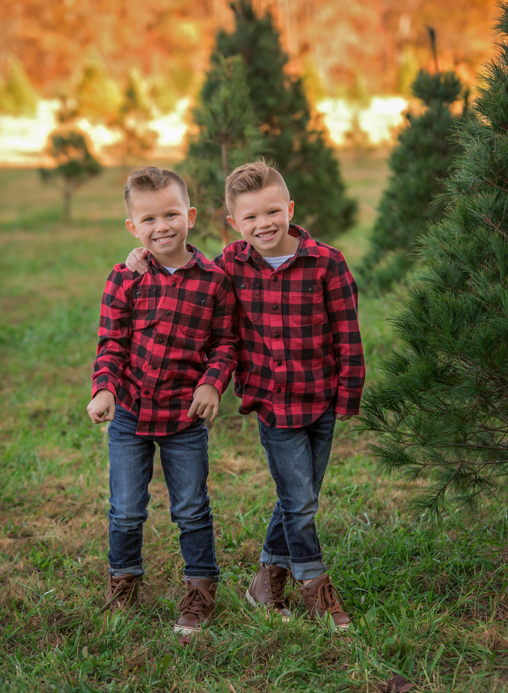 Brothers tree farm mini session windy knoll christmas tree farm henrico virginia holiday buffalo plaid