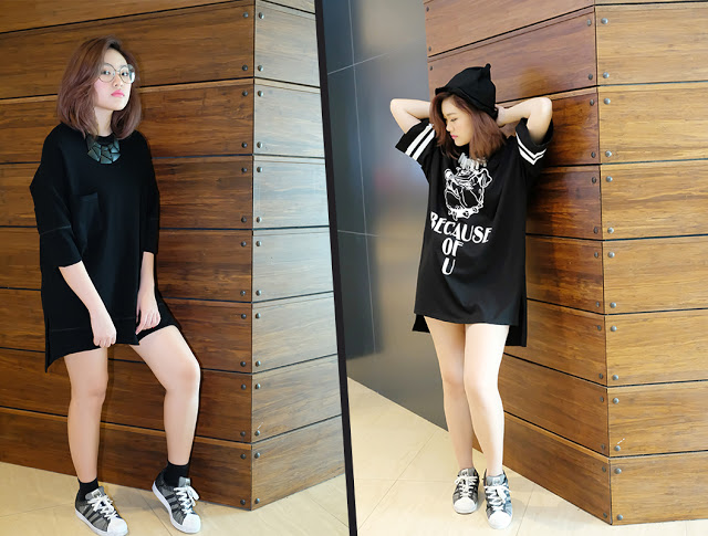 On model: Plain Pocketed Long Top (left). Becos of You Long Tees Dress (right)