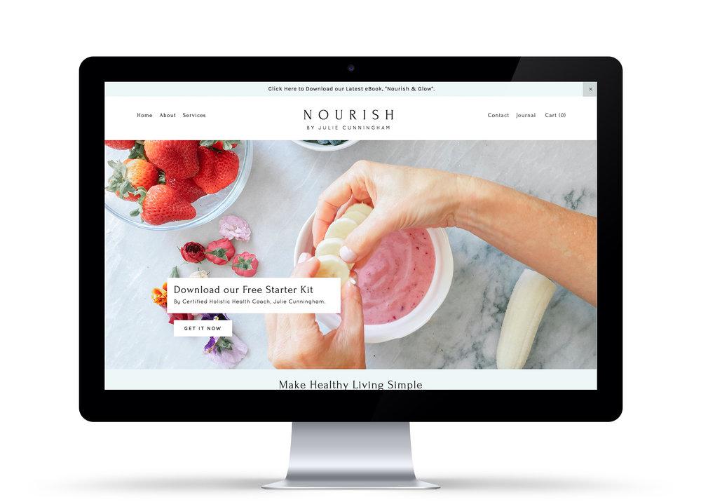 Custom branded, mobile responsive website featuring ecommerce capability,social media integration and a robust blog. Visit: nourishbyjulie.com