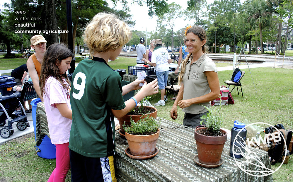 Local students get a lesson in gardening at Earth Day in the Park, a joint venture between KWPB and Rollins College.