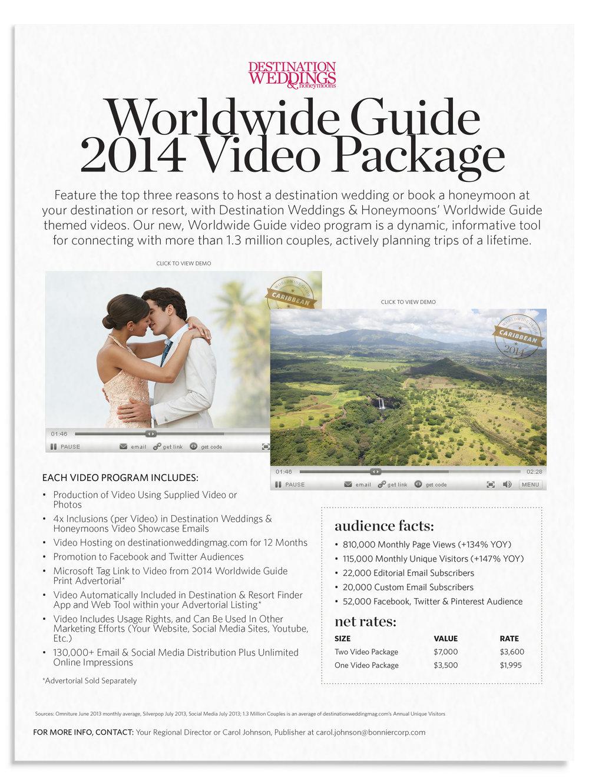 Sales Sheet for Destination Weddings & Honeymoons