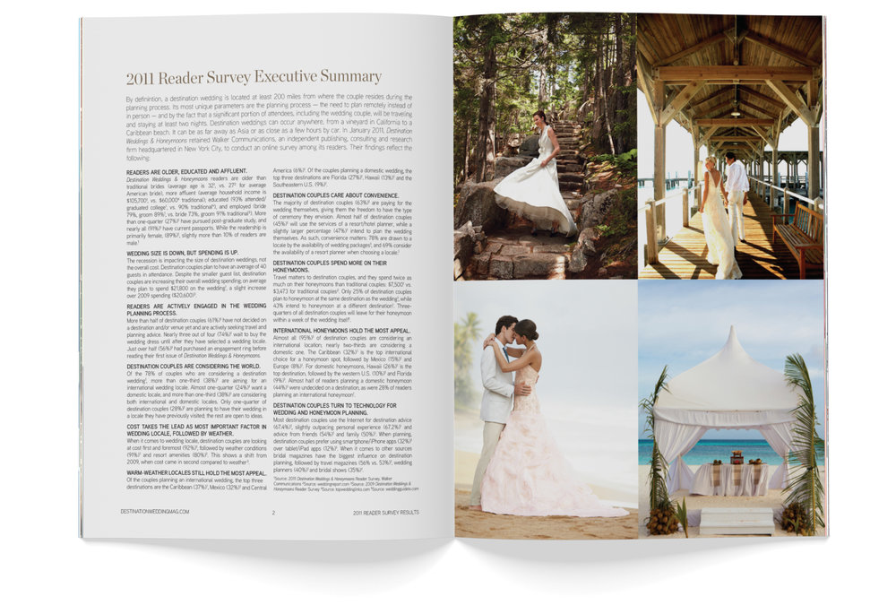 A spread in Destination Weddings & Honeymoons' 2011 research booklet.