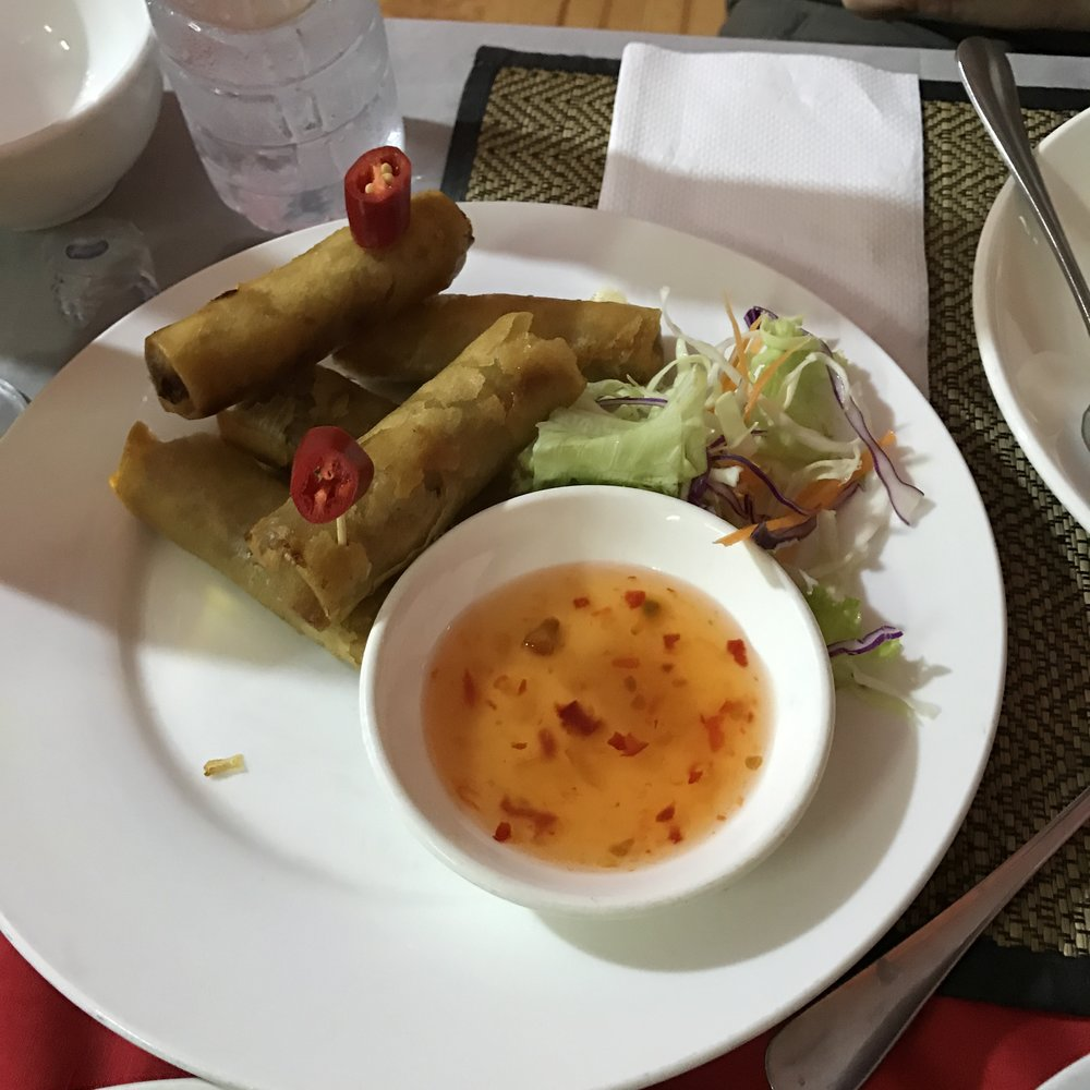 Veggie spring rolls. Looks like we got a little hasty and ate a few before i snapped a pic. Skipped breakfast to leave for Angkor Wat early this morning! Starving!