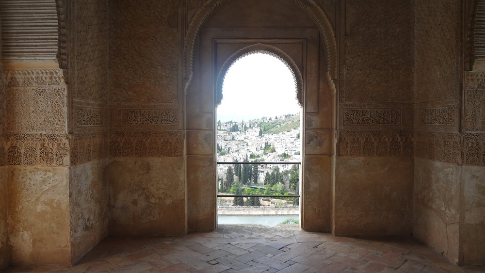 Looking out of the Alhambra to the city of Granada.