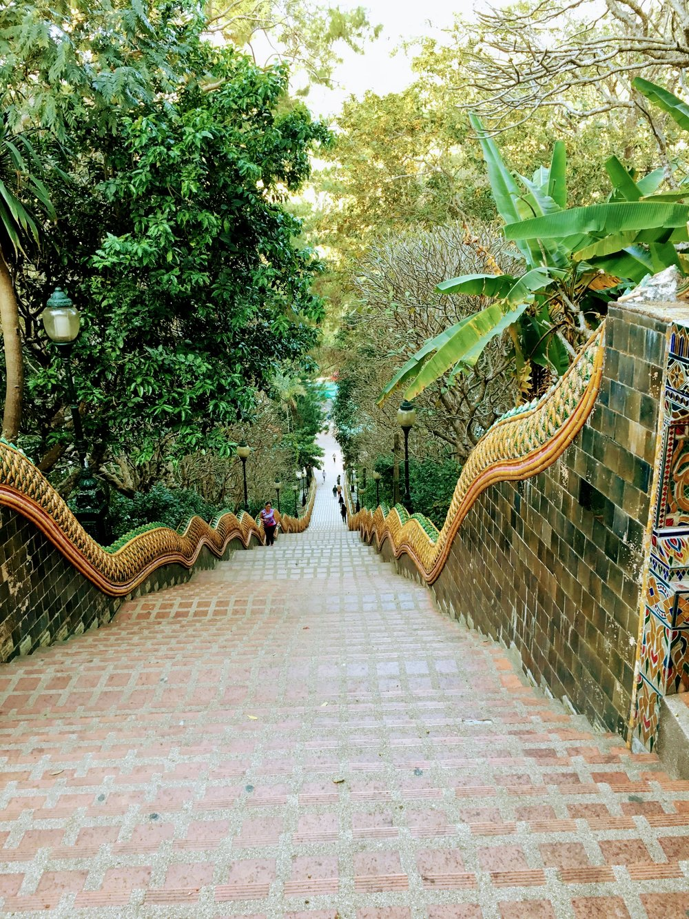 The view looking down the staircase is a beautiful one. The lush greenery that surrounds it looks as though it could overtake the grounds and temple and reminds us that we are in a rain forest after all.