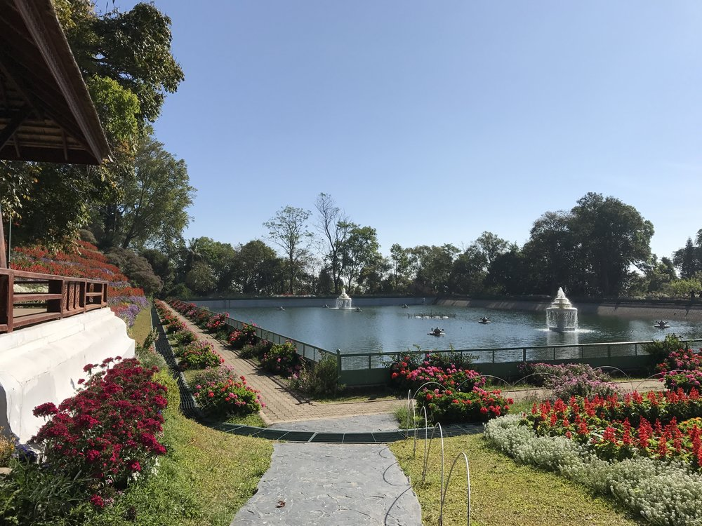 Water reservoir and garden at Bhubing Palace