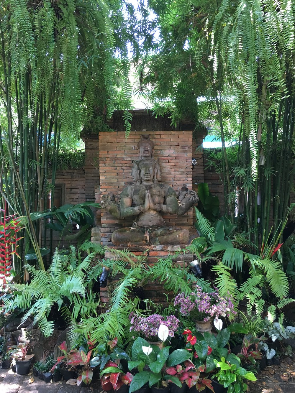 Terracotta art works and lush plantings make a stunning combination!