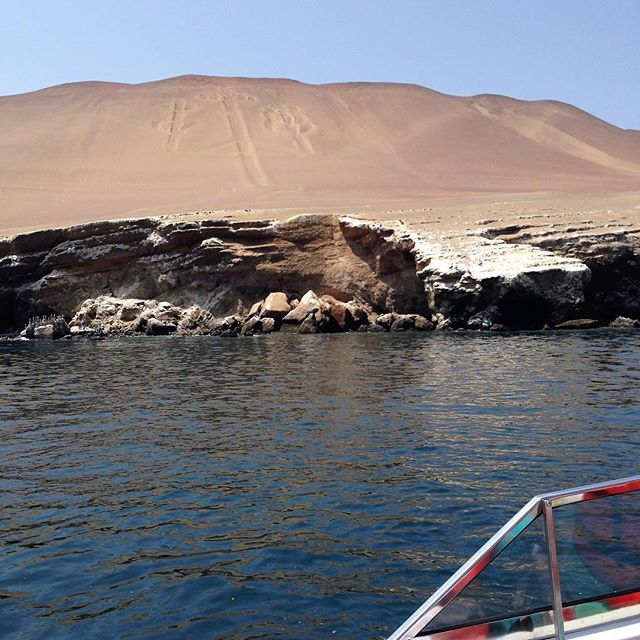 When we were touring Isla Ballesta in Peru, we also got to see the Paracas Candelabra. It's a prehistoric geoglyph that is cut two feet deep into the soil, is 595 tall, and is visible from 12 miles away at sea. It most likely represents a trident, but it does resemble a candelabra, thus the name. Although it's exact age is unknown, pottery found nearby has been dated to around 200 BC. We loooove stuff like this! How about you? What are some of the most fascinating things you have seen in your travels? . . . . .  #travel #lovetotravel  #travelgram #traveling #travelingcouple #travelblog  #traveltheworld #wanderlust #traveladdict #letslivethere #weloveithere  #instagood  #photooftheday  #boomertravelers  #babyboomertravel #boomertravel #travelwithme #worldexplorer #travelat60 #over60travel #explore #iamtb #seeingtheworld #kewlcaptures #seniortravel #paracascandelabra #peru #geoglyph