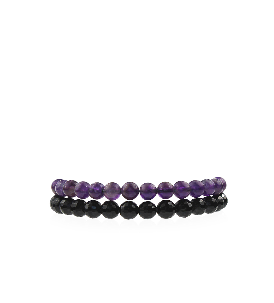 $45 - Onyx & Amethyst Stackable Bracelets