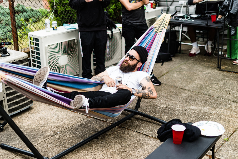 Flaviofranko, unwinding in a hammock.