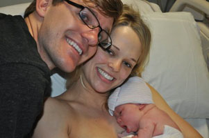 Lisa provides labor support for Haley & Will (seen here with baby girl))