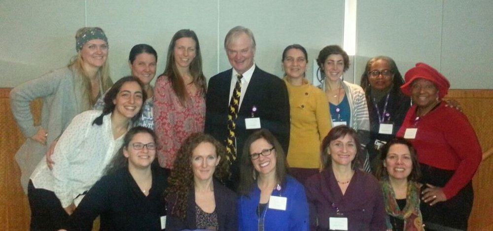 Dr. Nils Bergman and a group of my CEA/MNY childbirth educator colleagues who also attended the all-day conference. I'm in the blue shirt and glasses in front of Dr. Bergman.