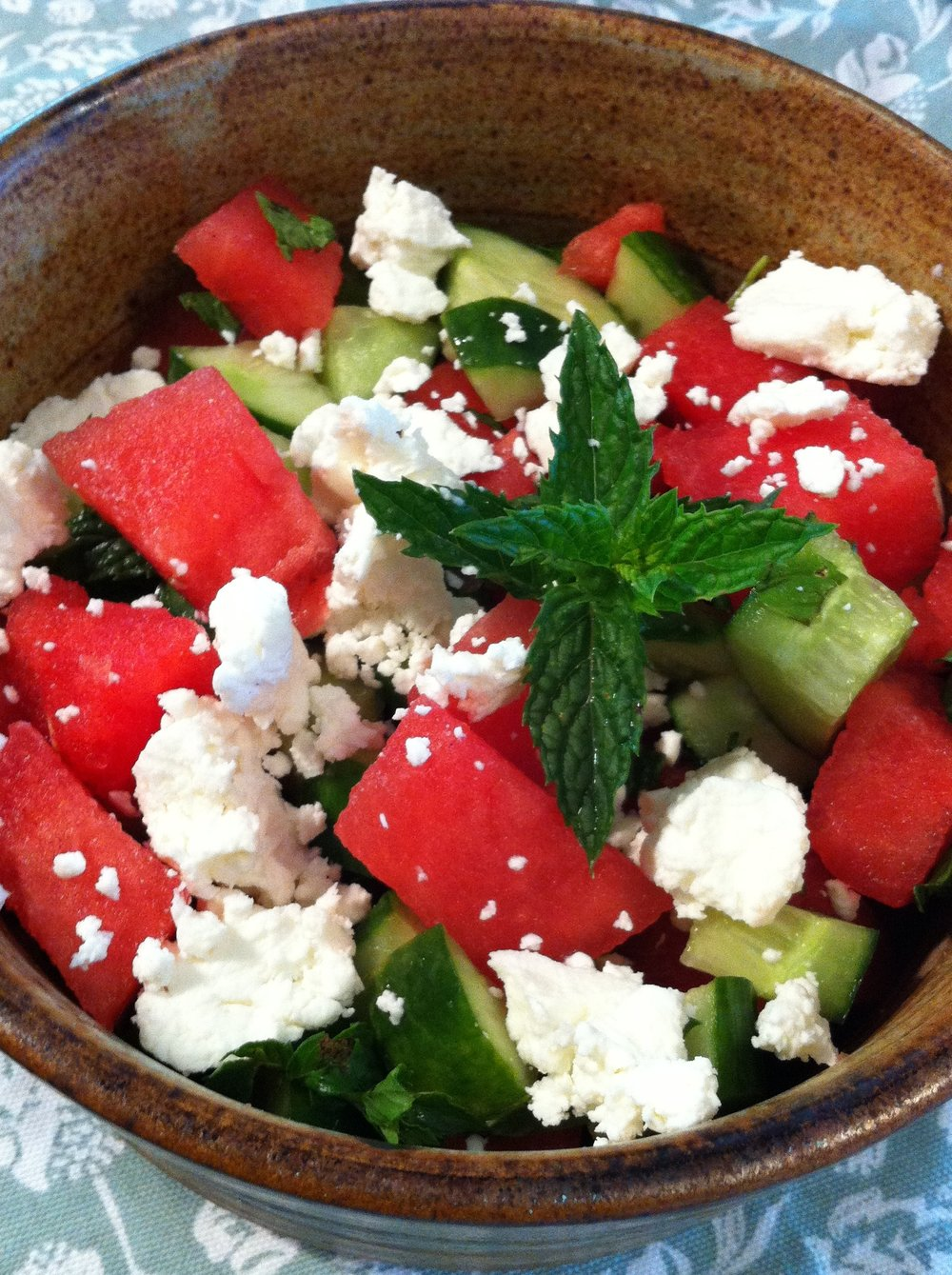 Watermelon Salad with Chèvre and Mint