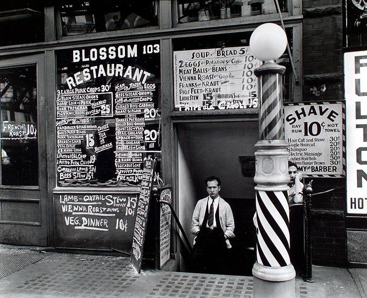 Blossom Restaurant, 103, Bowery, Manhatten, 1935.  Berenice Abbott.