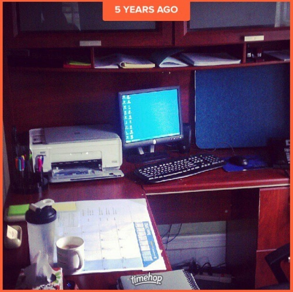 my desk 5 years ago on my first day