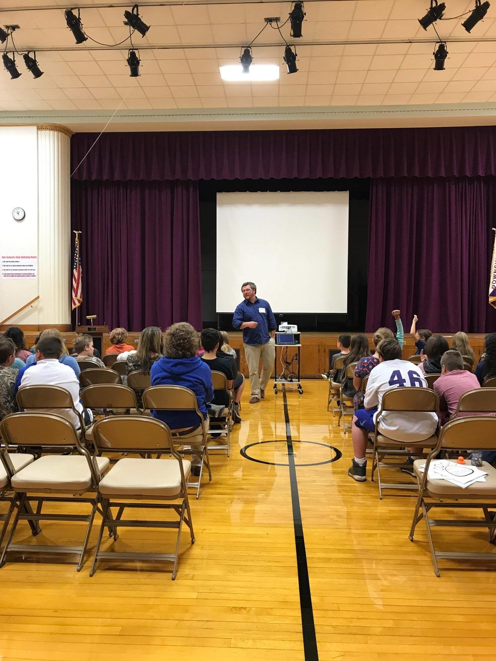 Justin working with the 5th-8th graders at Downsville for the Olweus Kick Off!