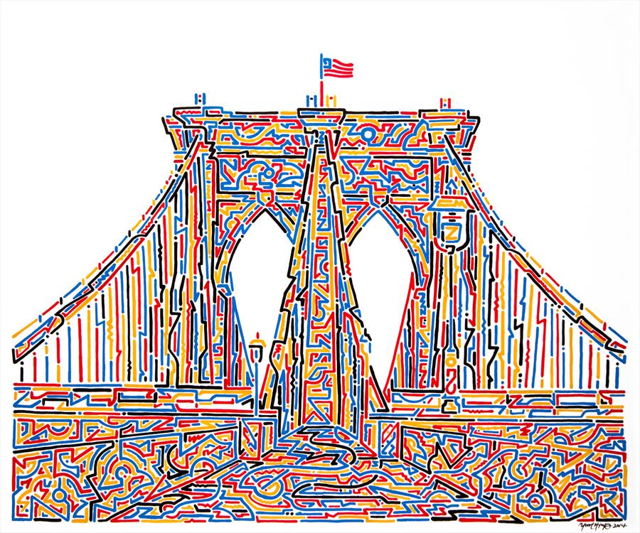 "Spread Love (Brooklyn), 2014   Krink on canvas  20"" x 24"""