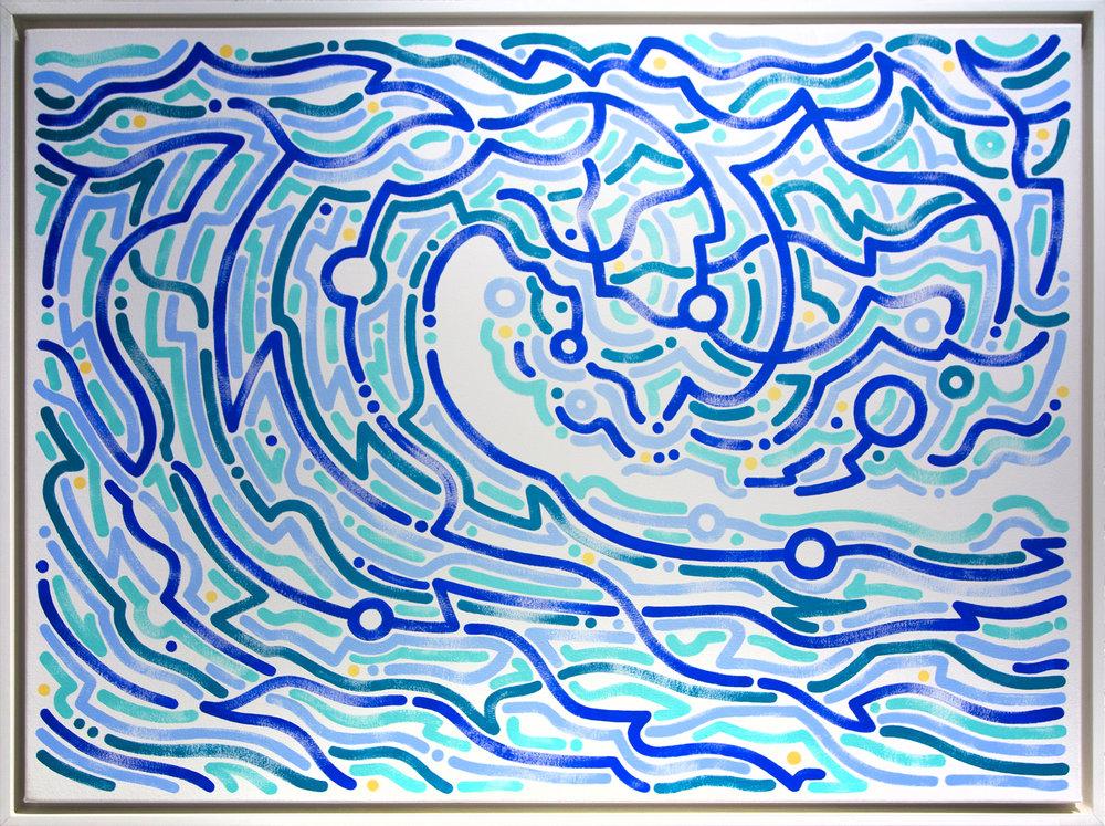 """Be Liquid, 2016   Acrylic on Canvas  36"""" x 48"""""""