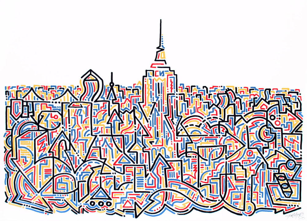 "The Empire (NYC), 2013   Krink on Paper  17.5"" x 24.5"""
