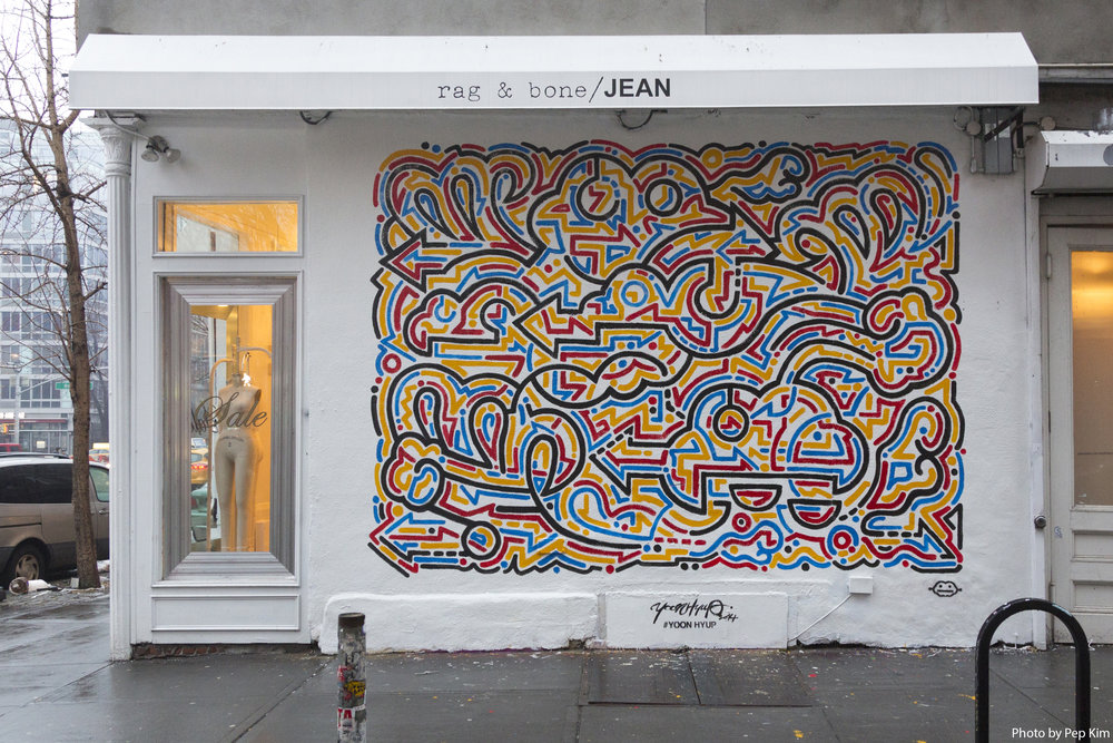 Rag & Bone x Yoon Hyup, 2014   Wishing for a Bright Sunny Day  Paint on Wall, New York, USA