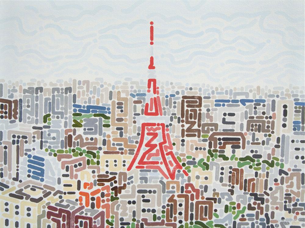 "Tokyo, 2017   Acrylic on Canvas  18 x 24"""