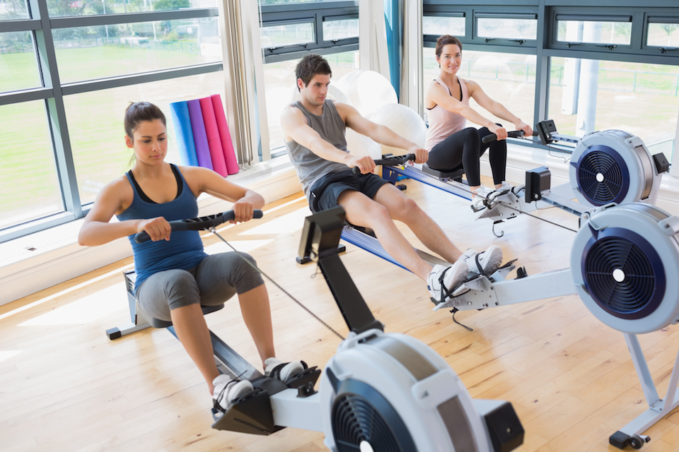 Three people on rowing machines - photo courtesy of MyFitnessPal