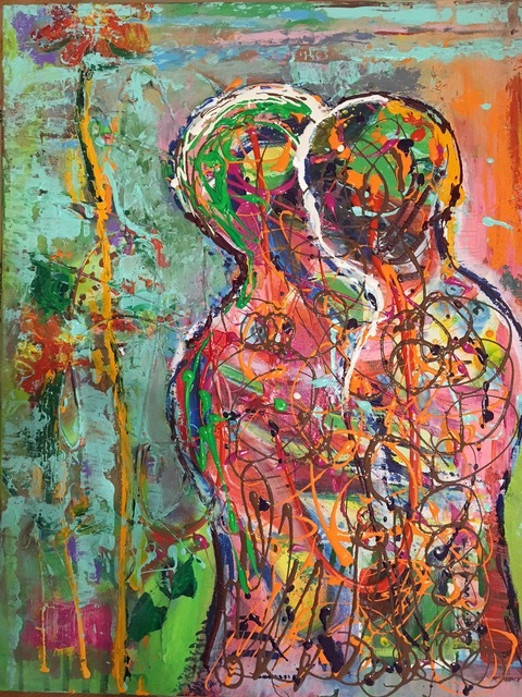 Mate   It is HOPE of true connection that leads understanding and LOVE. Painting is mixed media, applying layers of paint on canvas then pouring bright colors to emphesize the embrace.