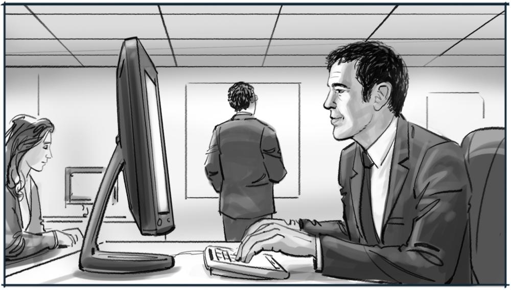 Storyboard voorstellen medewerker Rabobank tekening 1