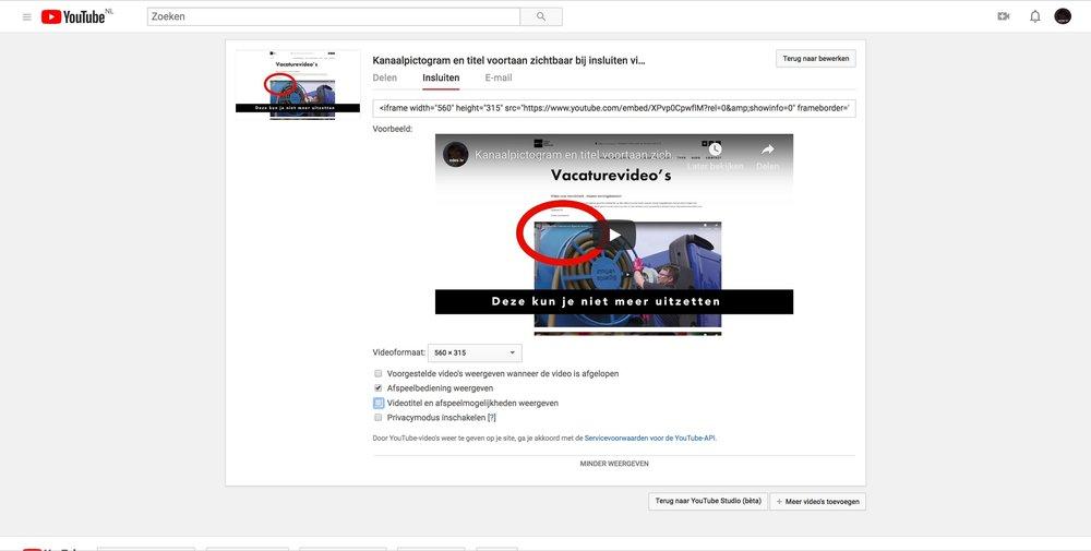Insluiten videotitel youtube niet meer mogelijk
