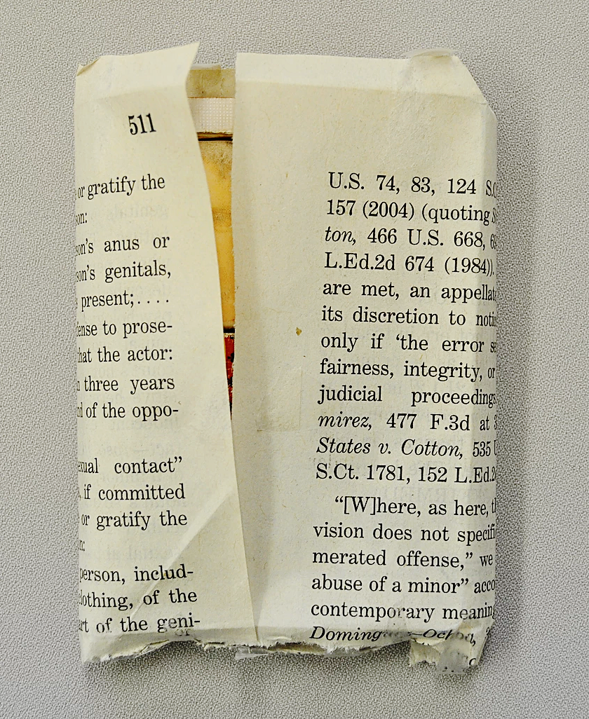 Jesse Krimes, Purgatory (detail), 2009, ink, image transfer, prison-issued soap, toothpaste, paper, playing cards.