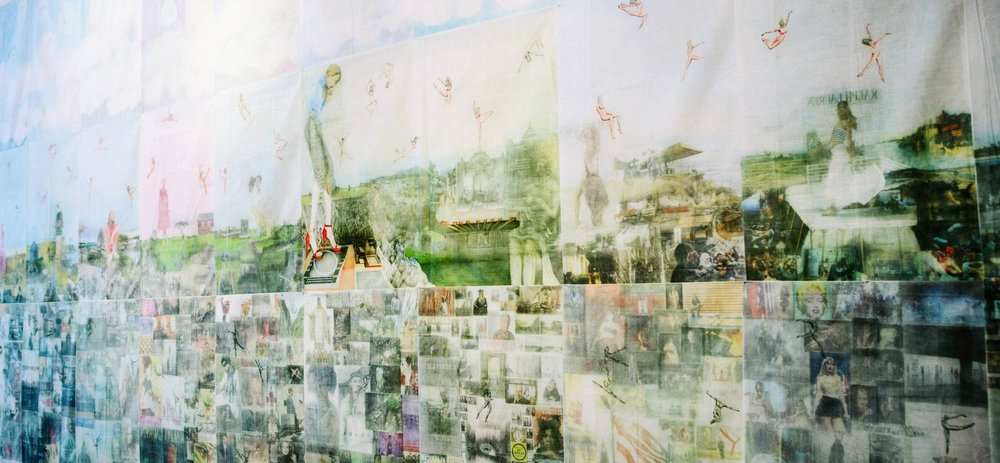 Jesse Krimes, Apokaluptein, 2009 - 2013, gouache, graphite, ink, image transfers on prison-issued bedsheets.