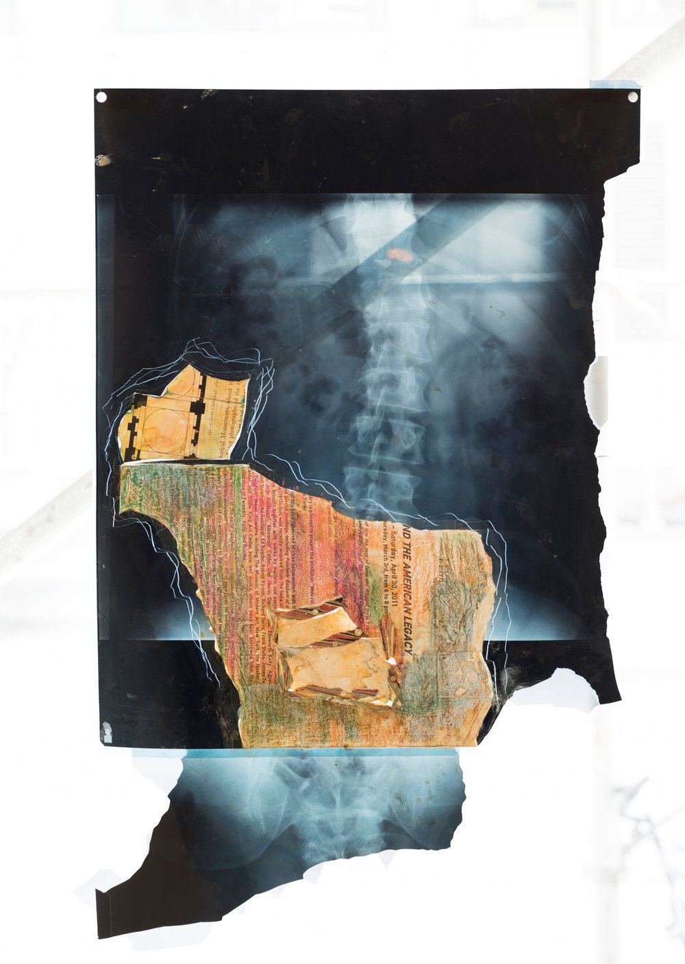 Cora Cohen, R90, 2011, colored pencil, coffee, oil, pigment, tape and watercolor on roentograph