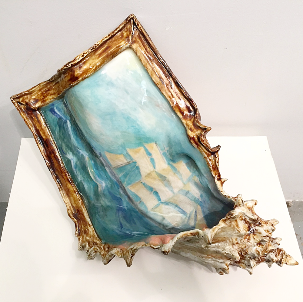 Valerie Hegarty, Clipper Ship Shell, 2016, glazed ceramics.