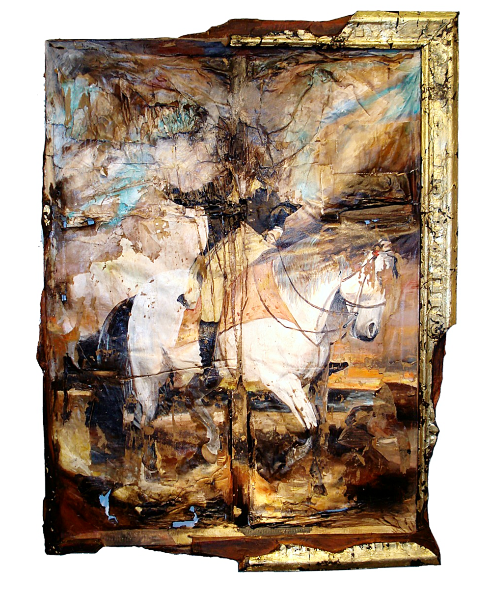 Valerie Hegarty, Ghost of History, 2016, stretcher, canvas, paper-mache, acrylic paint, foamcore and molding.