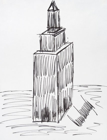 Trump's 1995 drawing of the Empire State Building via NYTimes