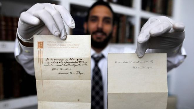 Two handwritten notes by Einstein. Photo courtesy of AFP via bbc.com