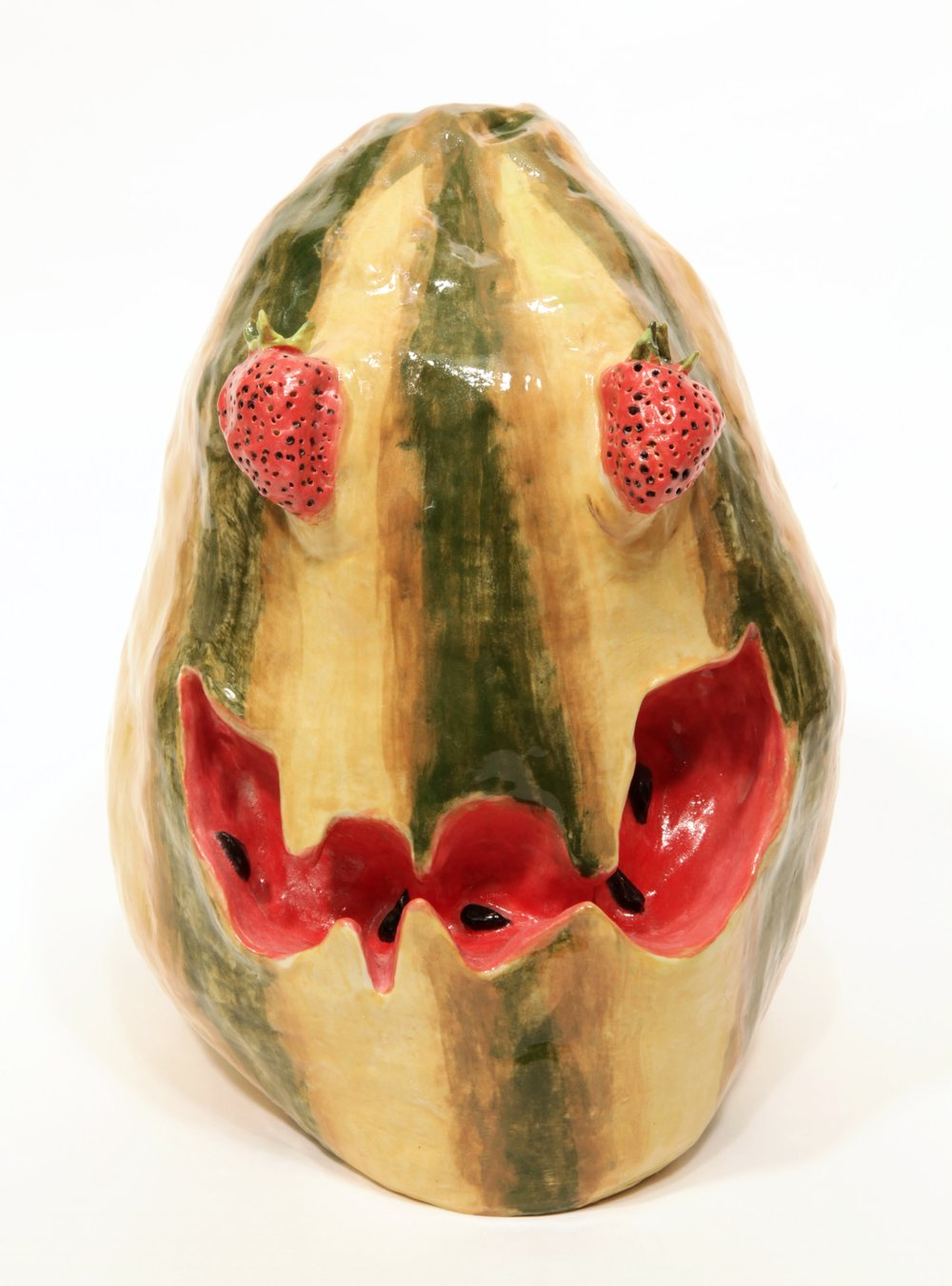 Valerie Hegarty,  Watermelon Head with Strawberry Eyes , 2016, glazed ceramics.