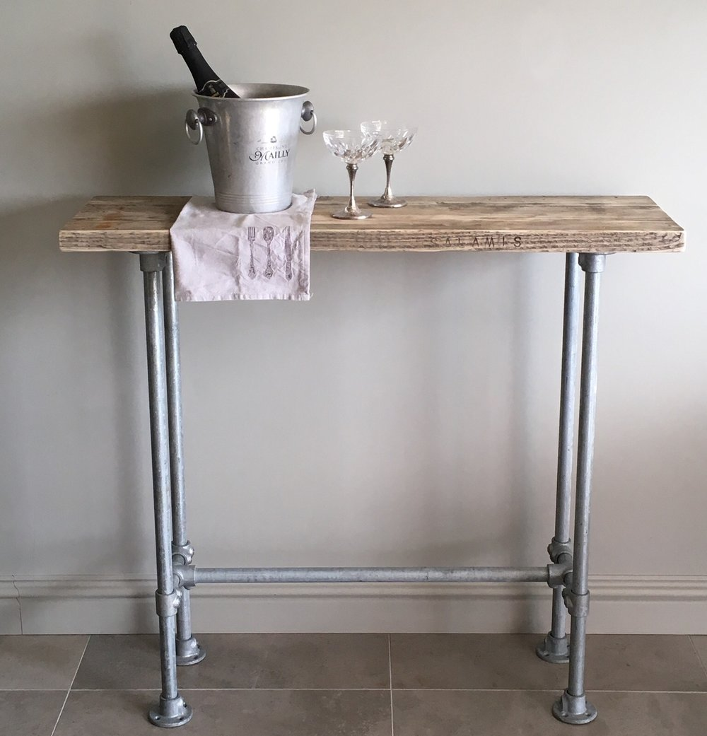 Industrial Style Console Table - Grey Washed Plank Top - Kiln dried and sustainably sourced grey washed plank top with slim pipe work frame.