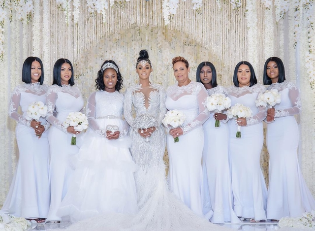 Keyshia Ka'oir's    bridal party in    Christopher Paunil    gowns from The Boutique by B.Belle Events.