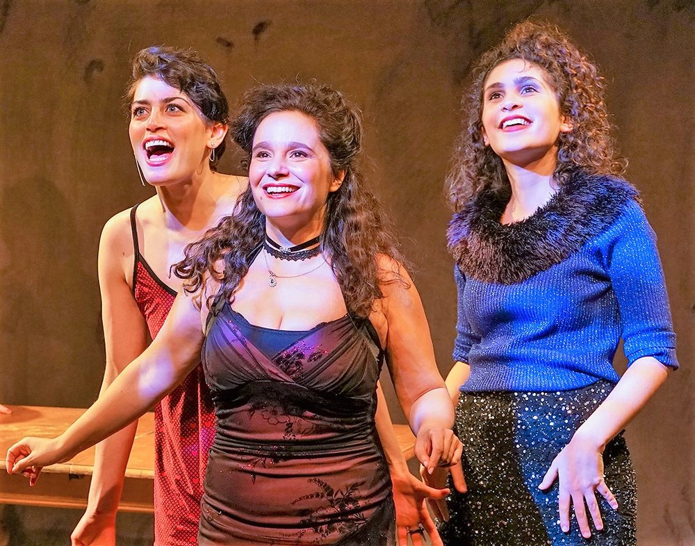 From left: Melissa Weisz as Manke, Rachel Botchan as Reizel and Mira Kessler as Basha in Sholem Asch's God of Vengeance. Top: Weisz (right) with Shayna Schmidt as Rifkele. Photos by Ronald L. Glassman.