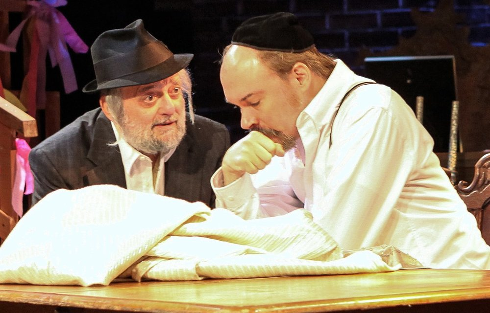 David Mandelbaum (left) as Reb Eli, with Shane Baker as Yekel the brothel-keeper.
