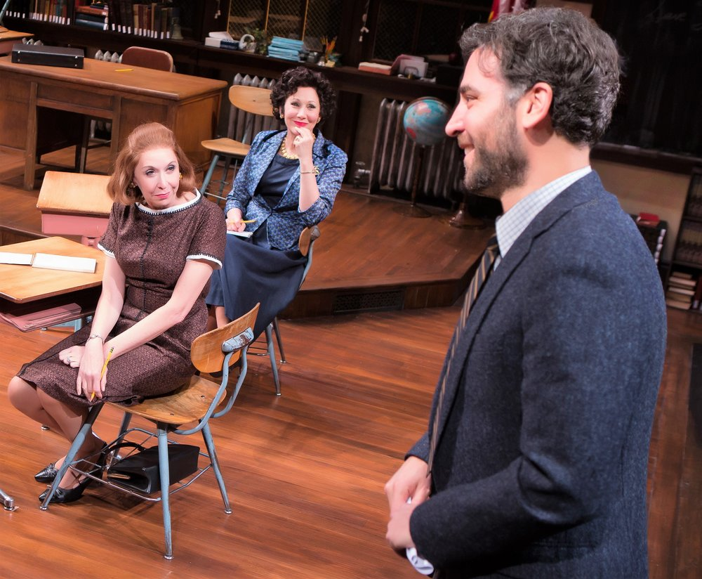 From left: Julie Halston as Midge, Randy Graff as Frieda, and Josh Radnor as Aaron in The Babylon Line. Top: Radnor and Elizabeth Reaser as Joan.