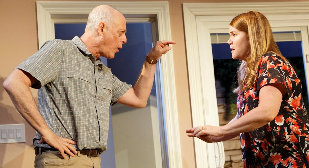 Mark Blum (left) and Mare Winningham star as Pete and Mary in Dan LeFranc's  Rancho Viejo .Top, from left: Julia Duffy as Patti, Blum, and Mark Zeisler as Gary. Photos by Joan Marcus.