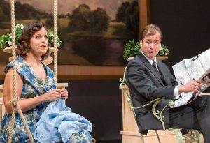 Frances Farrar (Katie Firth) and Julian (Elfer) appear content for a moment.