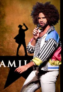 "Nicholas Edwards plays Hamilton star Daveed Diggs, the actor who plays Thomas Jefferson and the Marquis de Lafayette in ""Hamilton."" Top, from left: Chris Anthony Giles, Dan Rosales, Juwan Crawley and Nora Schell fill out the cast of ""Spamilton."""