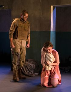 Phil Feldman (as Talthybius) & Casey Wortmann (as Andromache). Photo by Allison Stock.