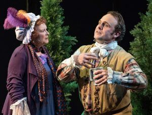 Cynthia Darlow as Mrs. Hardcastle and Richard Thierot as the trickster Tony Lumpkin. Top, from left: Jeremy Beck plays Marlow, Tony Roach is Hastings, and Thierot.