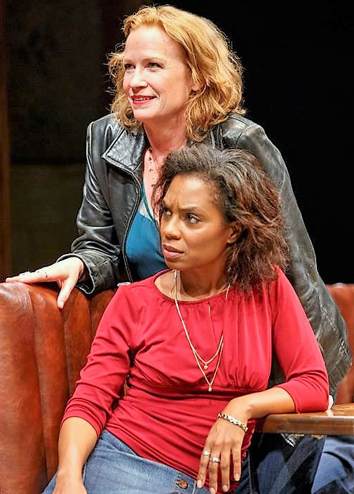 Johanna Day (top) and Michelle Wilson star in Lynn Nottage's  Sweat . Top, from left: Day and Wilson with Miriam Shor.