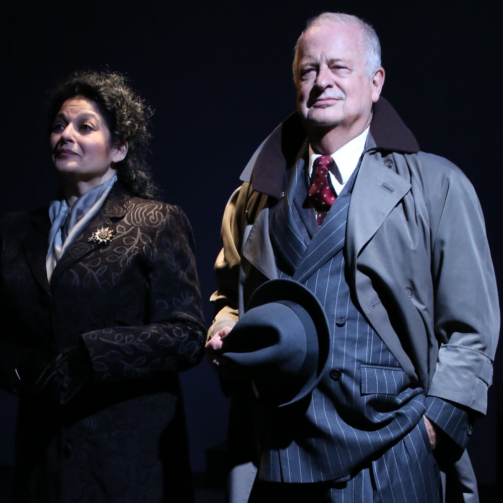 Craig Smith (right, with Elise Stone) is the Hitler figure Arturo Ui in Bertolt Brecht's  The Resistible Rise of Arturo Ui . Top: Desmond Confoy (center) and Jim Sterling. Photos by Gerry Goodstein.