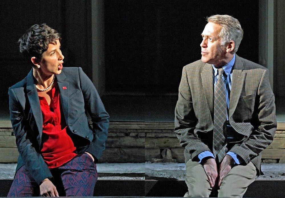 Merritt Janson as Junius Brutus (left) and Stephen Spinella as Sicinius Velutus. Photos by Carole Rosegg.